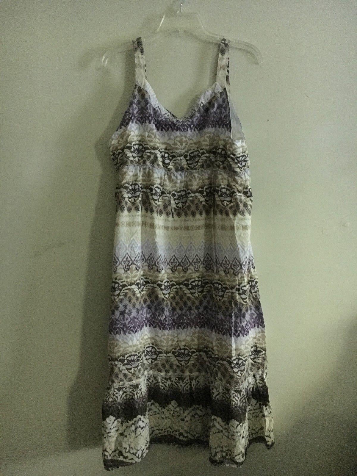 Sonoma Women Beige Brown Lavender Purple Floral Flare Dress Size XL