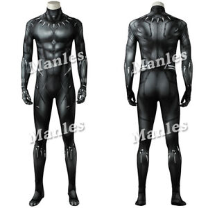 Details about 2018 Black Panther Cosplay T Challa Costume Wakanda King Spandex  Men Bodysuit e9dad63b51c8