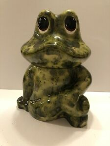 Frog-Cookie-Jar-Container-Ceramic-Excellent-Condition-11-5-Tall-Super-Cute