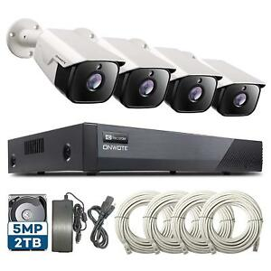 fd300486df6 ONWOTE 5MP HD PoE Security 4 Outdoor Audio Camera System 8 Channel ...