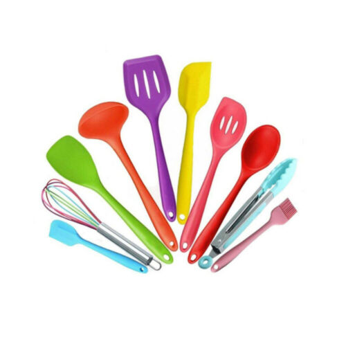 10 pcs//set Mixed Color Silicone Kitchen Utensils Set Non-stick Cooking Tools