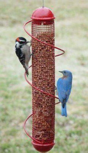 """BIRD QUEST 17/"""" RED PEANUT SPIRAL BIRD FEEDER"""