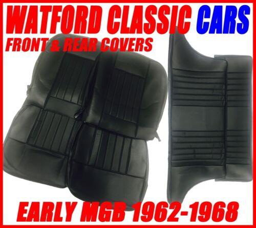 MGB GT /& Roadster Coprisedili per anteriore e posteriore 1962-1968 SIMILPELLE completamente nera.