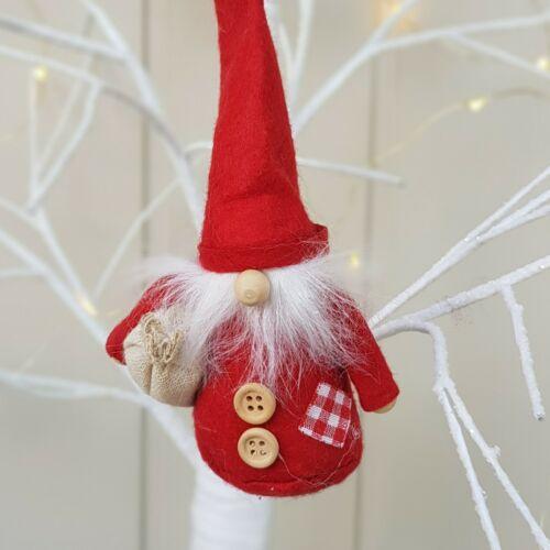 Red Scandinavian Nordic Santa with sack hanging Christmas decoration