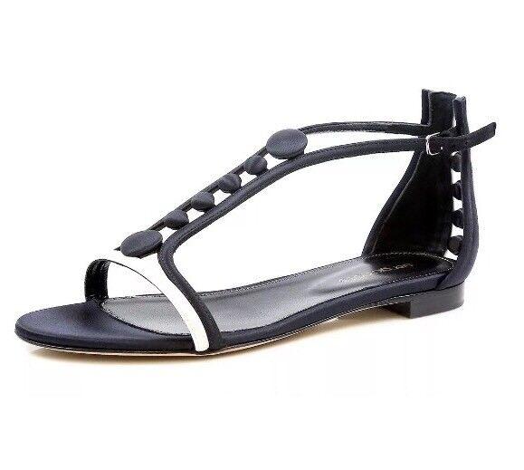 offerta speciale SERGIO ROSSI 3038 Donna  nero bianca Leather Leather Leather Flat Sandals Dimensione 37  con il prezzo economico per ottenere la migliore marca
