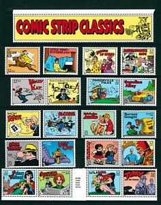 US-Scott-3000-Comic-Strip-Classic-Set-of-20-Singles-MNH