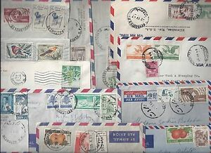 LEBANON 1950's COLLECTION OF 12 COMMERCIAL COVERS FRANKINGS SOME TO JERUSALEM