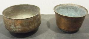 2 Ancienne Oriental / Asiatique Antique Laiton Pots / Seau D'eau Produits Vente Chaude