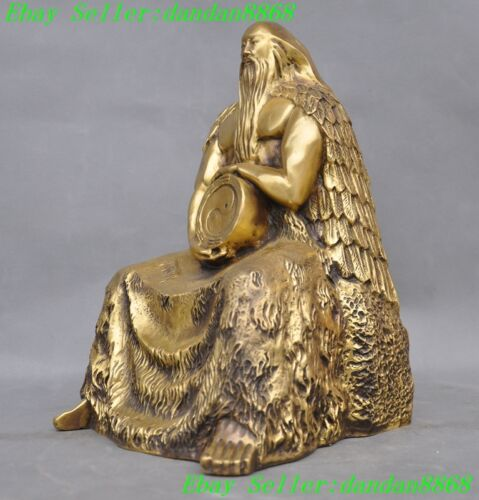Chinese Myth brass Creation God Three emperor of the first Taihao Fuxi statue