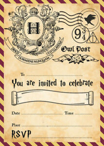 Image Is Loading Harry Potter Party Invitations X 10 C W Envelopes
