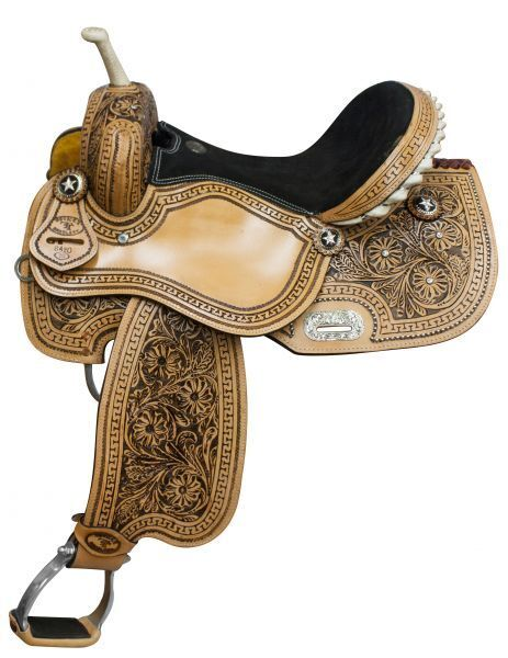 14  Double T Barrel Racing Star Conchos Roughout Floral Tooled Leather Saddle