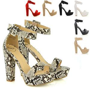 Para-Mujer-Correa-De-Tobillo-Plataforma-Damas-Suela-Gruesa-Bloque-Talon-Sandalias-Zapatos-Talla