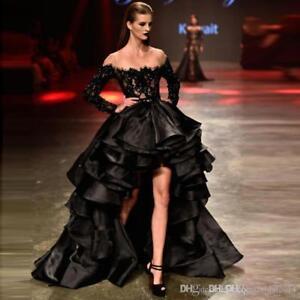 f7bcbc581fb Black Prom Dresses Beaded Lace Organza High Low Sheer Neck Ruffles ...