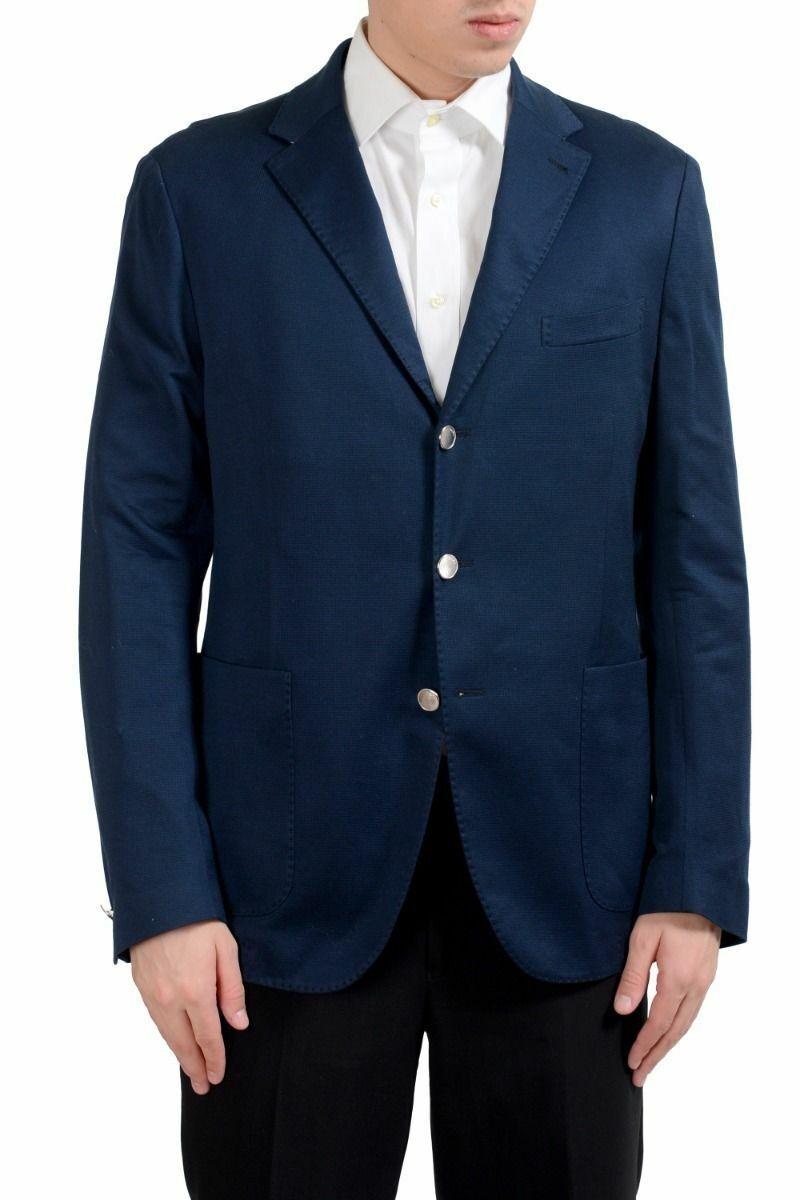 Malo Men's bluee Three Button Blazer Sport Coat Size 44 46