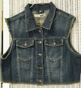 MOTO-Distressed-Denim-Waistcoat-40-034-Bust-Women-039-s-Cropped-Frayed-Jeans-Biker-Vest