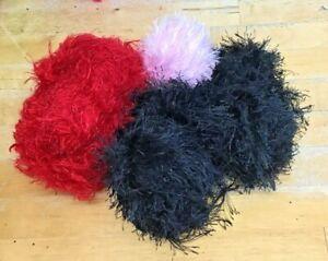 Lot-210g-Fancy-Fluffy-Knitting-Yarn-Red-Black-Pink-Spinning-Crafts-Crazy-Toys-M2