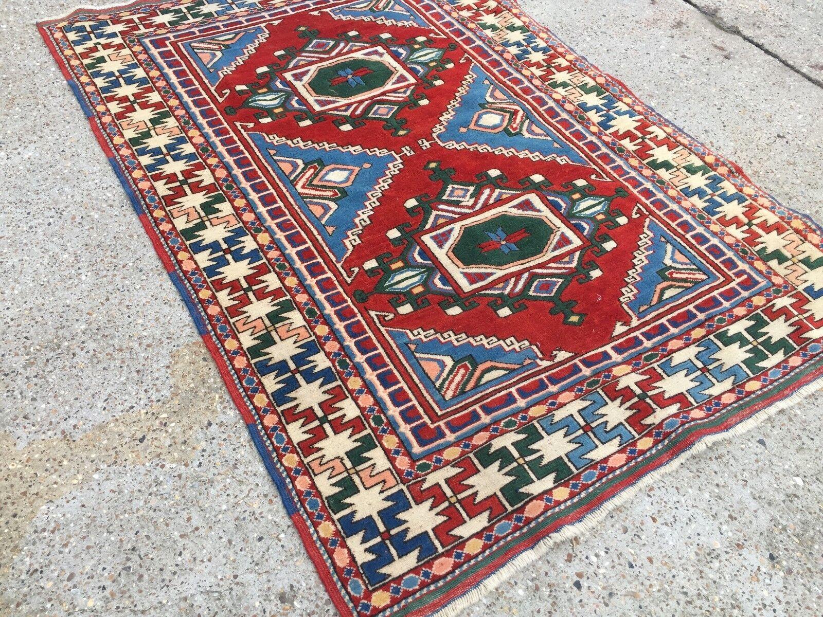 Old Kazak Rug Wool Oriental Oriental Oriental HandMade 192x132cm old vintage carpet Turkish 3c85d6