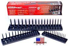 "Hansen 3pc Socket Organizer Tray Rack Holder Metric MM 1/4 3/8 1/2"" USA MADE"