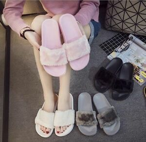 Fashion-Womens-Lady-Slipper-Slip-On-Sliders-Fluffy-Fur-Slippers-Flip-Flop-Sandal