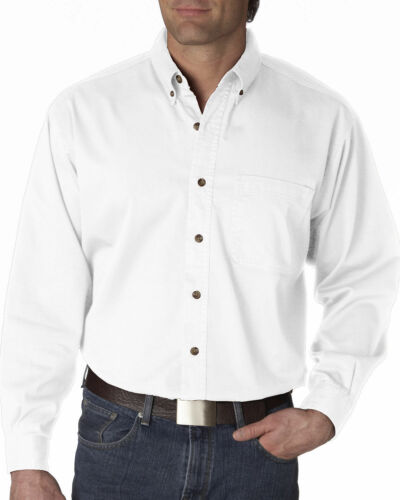 UltraClub Long-Sleeve Cypress Denim with Pocket Solid Button Up Shirt Men/'s 8960