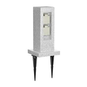 Garten-Steckdosensäule POCK mit Erdspieß Stein-Optik für außen, 2-Fach, Kunsthar
