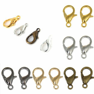 50-100Pcs-Silver-Gold-Plated-Lobster-Claw-Clasps-Hooks-Jewelry-Findings-10-12MM