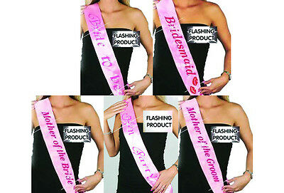 HEN PARTY FLASHING PINK SATIN SASHES Bride to be Bridesmaid Hen party etc