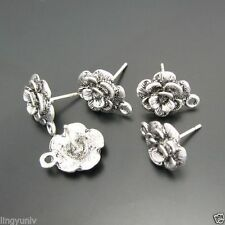 Retro Style Atq Silver Alloy Flower Earring Stud Earring Connector Finding 40PCS