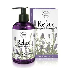 Relax Therapeutic Massage Oil – Lavender & Peppermint Essential Oils - 8oz