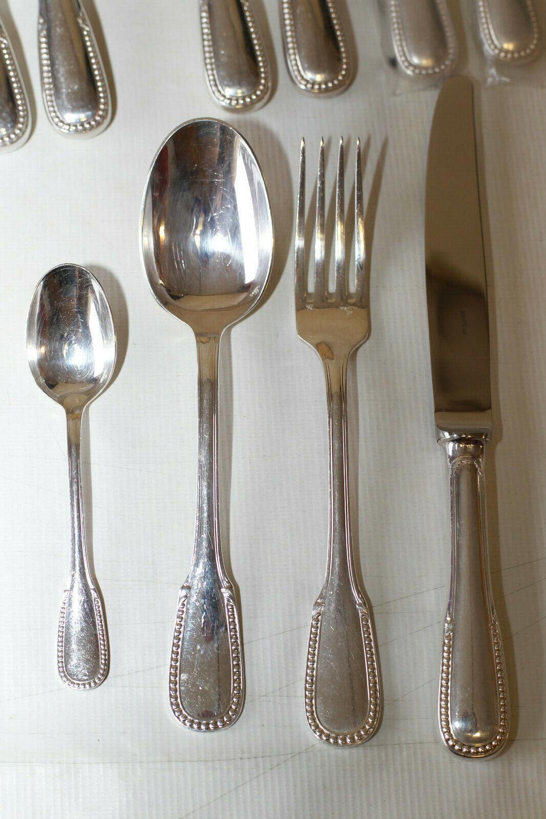 Ménagère ERCUIS modèle Perlé métal argenté Couverts de table 48 pièces