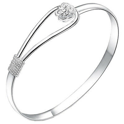 Great Women Bracelet Silver Plated Circle Rose Cuff Bangle Bracelet Jewelry LACA