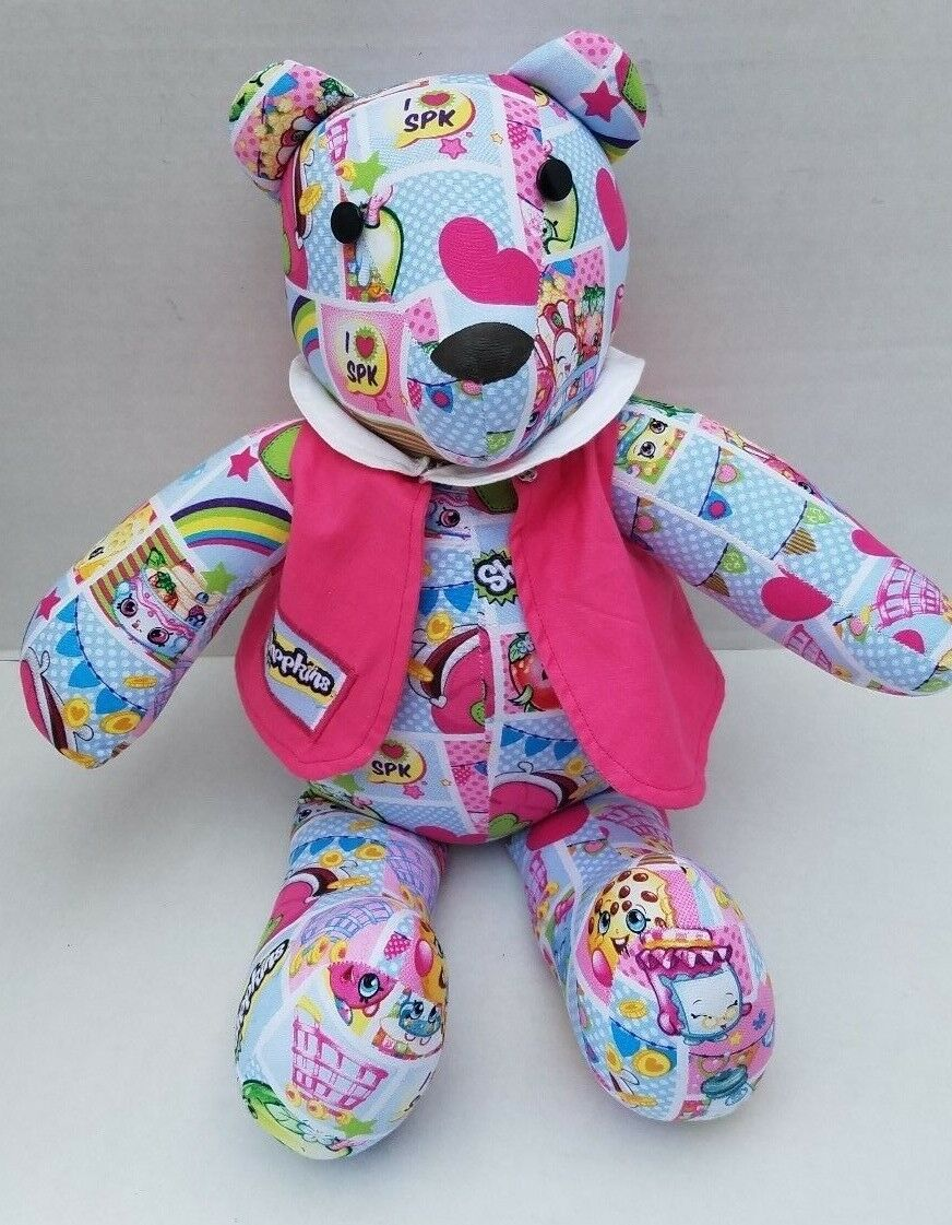 Shopkins Material I LOVE SPK Bear Hand Folk Art Sew Hand Made Button Eyes Heart