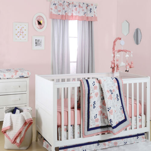Coral Pink Grey and Navy Floral 3 Piece Crib Bedding Set by The Peanut Shell