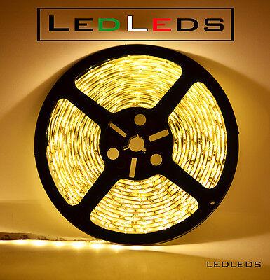 300 LED 3528 STRIP STRISCIA 5 m 12V BIANCO LUCE CALDA IMPERMEABILE ip65 metri