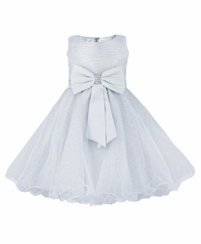 Girls Tulle Pageant Party Wedding Bridesmaid Dress With Bow Detail 2-12 Years