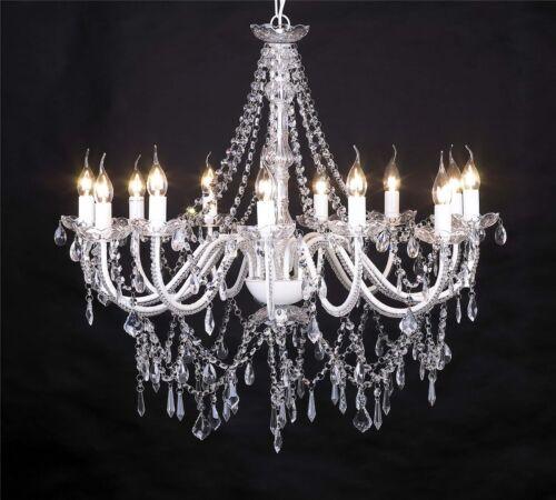 armig Ø 80 cm Weiß Deckenleuchte Kristall barock Landhaus Kronleuchter BIG 8
