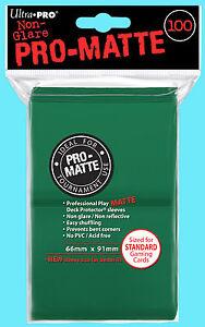 100-ULTRA-PRO-GREEN-PRO-MATTE-STANDARD-SIZE-DECK-PROTECTORS-Card-Sleeves-MTG