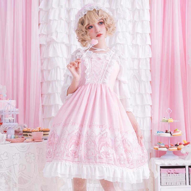High Waist Strap Lolita damen Princess Dress Knee Length Sweet Sleeveless Rosa
