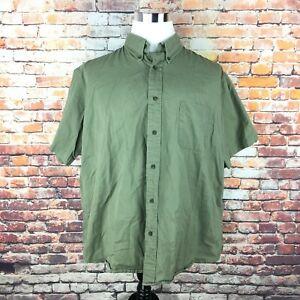 St-John-039-s-Bay-Mens-Size-X-Large-Green-Short-Sleeve-Button-Down-Dress-Shirt