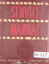 Warner Amp Swasey No 1 Electric 2 Electric Lathe Service Manual 1963