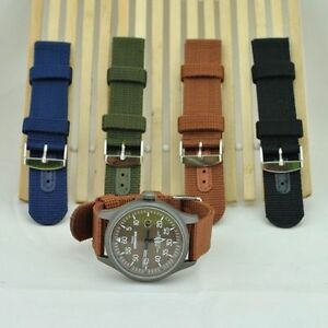 Herren Klassisch Nylon Uhrenarmbänder Leinwand Armbanduhr Band 18mm zu 24mm