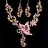 Mariposa Set Rosa Collar Pendientes DECORACION DE JOYERÍA NUPCIAL adorno traje