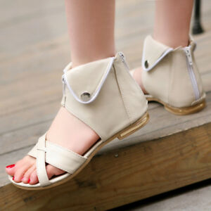 Details about Womens Casual Flat High Top Sandals Peep Toe Gladiator Roman Shoes Back Zipper