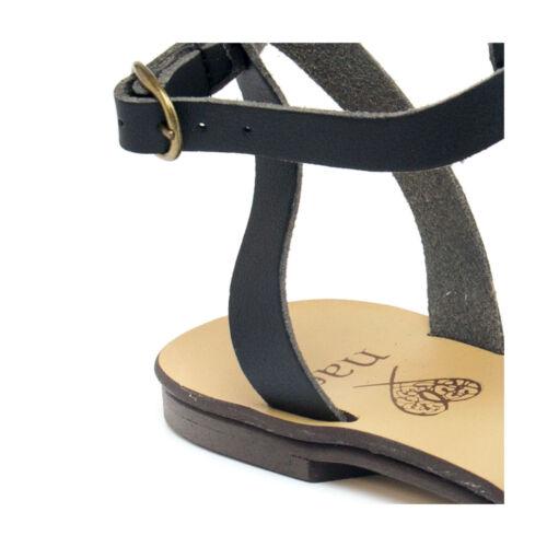 Femmes Roman Gladiator Strap Slap Vegan Sandals Black HqRZR65
