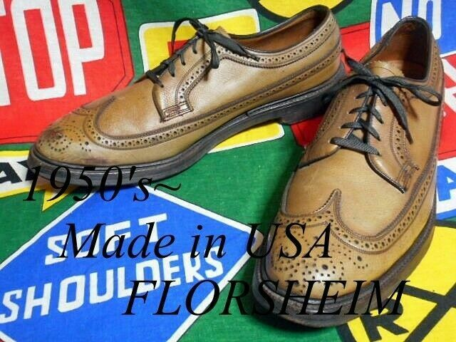 FLORSHEIM IMPERIAL Vintage Wingtip Leather shoes Size 11 B Light Brown