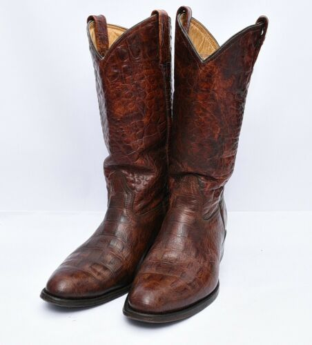 Rogers Boots Exotic Croc Leather Western Cowboy Ri