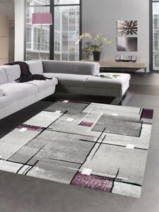 Modern tapis poil ras tapis de salon résumé karo gris noir violet | eBay