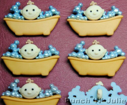 BABY IN THE BATH Tub Bubble Bathtime Boy Girl Novelty Dress It Up Craft Buttons