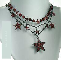 Vintage Andersen Pilgrim Necklace Star Charm Red Black Enamel Swarovski