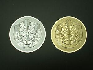 DART-ALU-Embleme-im-3er-Pack-50-mm-in-Gold-und-Silberfarben